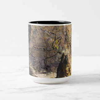 Unidentified Flying Object Petroglyph Two-Tone Coffee Mug