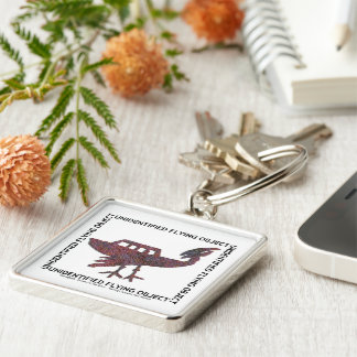 Unidentified Flying Object Silver-Colored Square Keychain