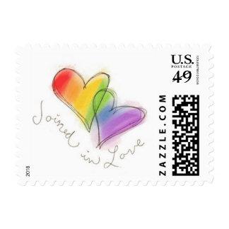 Unido a en sellos de los corazones del arco iris d