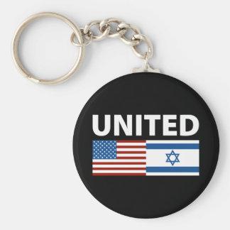 Unido con Israel Llavero Redondo Tipo Pin