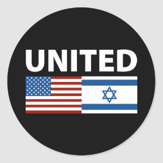 Unido con Israel Pegatina Redonda
