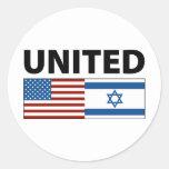 Unido con Israel Pegatinas Redondas