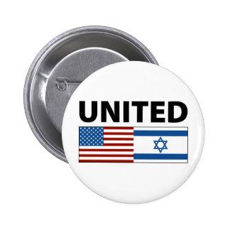 Unido con Israel Pin Redondo De 2 Pulgadas