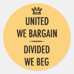 Unido negociamos etiqueta redonda