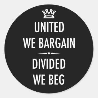 Unido negociamos pegatina redonda