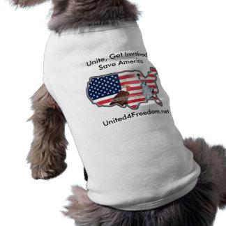 Unido para el suéter del mascota de la libertad playera sin mangas para perro