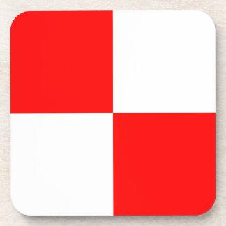 Uniform red white checkered square drink coaster
