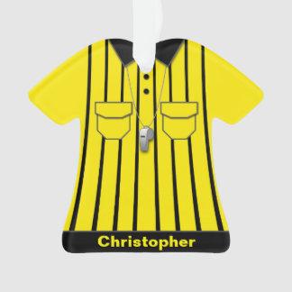 Uniforme amarillo del árbitro del fútbol