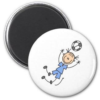 Uniforme azul del fútbol del chica imán redondo 5 cm