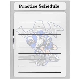 Uniforme del azul del jugador de LaCrosse Tablero Blanco