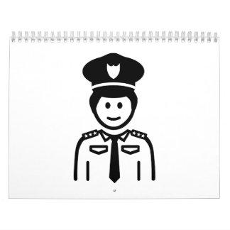 Uniforme del oficial de policía calendarios