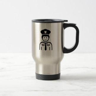 Uniforme del oficial de policía tazas de café