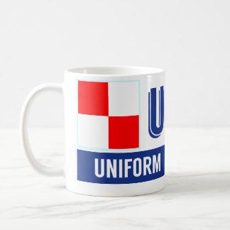 """Uniforme náutico del alfabeto """"U"""" de las banderas Taza"""