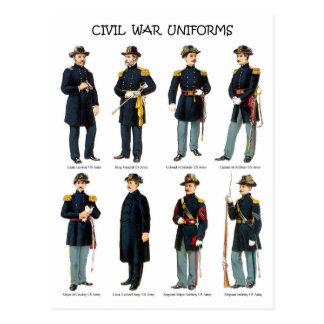 Uniformes americanos de la guerra civil postales