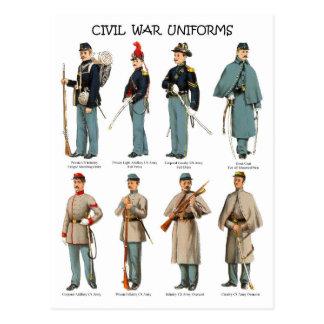 Uniformes americanos de la guerra civil tarjetas postales