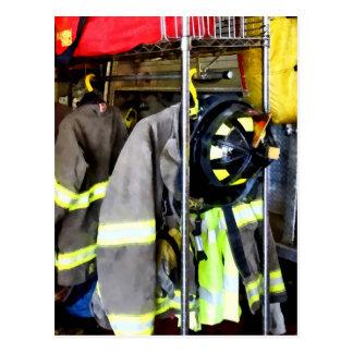 Uniforms Inside Firehouse Postcard