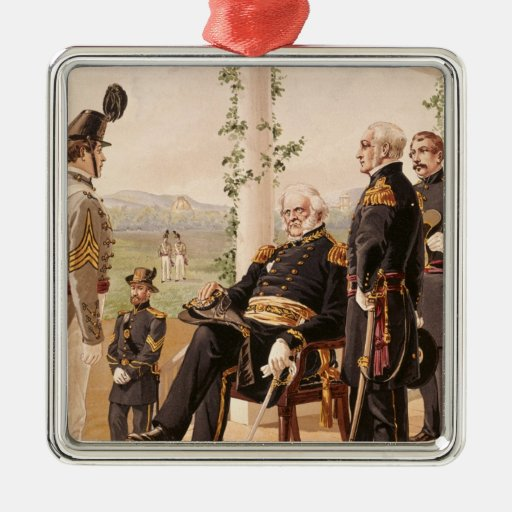 Uniforms of the American army Square Metal Christmas Ornament