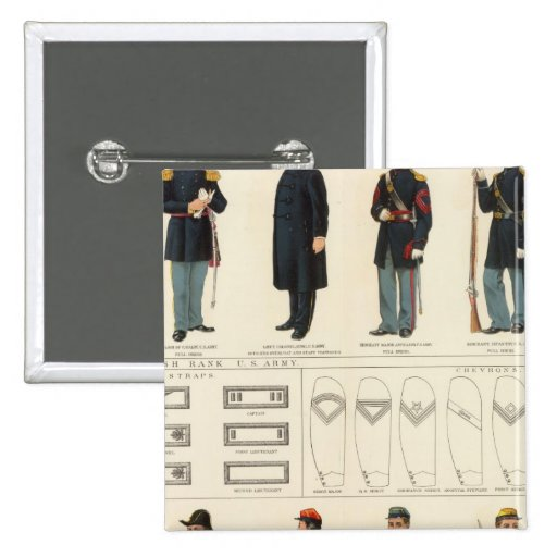 Uniforms, US, CS armies 2 Inch Square Button