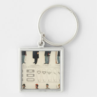 Uniforms, US, CS armies Silver-Colored Square Keychain
