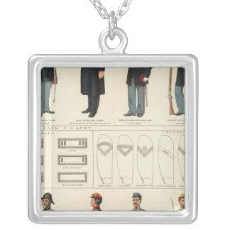 Uniforms, US, CS armies Square Pendant Necklace