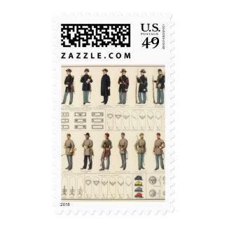 Uniforms, US, CS armies Stamp
