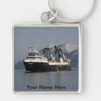 Unimak, barco rastreador de fábrica en el puerto h llavero cuadrado plateado