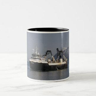 Unimak, Factory Trawler in Dutch Harbor, AK Two-Tone Coffee Mug