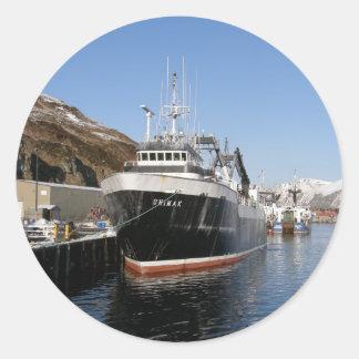 Unimak, Factory Trawler in Dutch Harbor, Alaska Classic Round Sticker