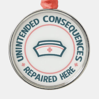 Unintended Consequences Repaired Round Metal Christmas Ornament