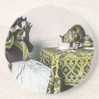 Uninvited Guest Bad Kitty Vintage Tea Party Girl Drink Coaster