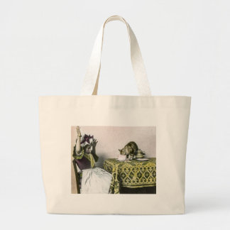 Uninvited Guest Bad Kitty Vintage Tea Party Girl Large Tote Bag