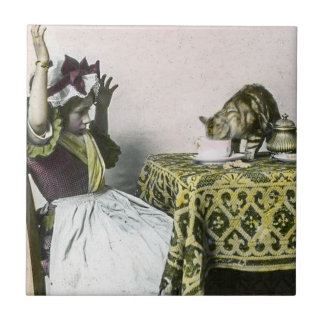 Uninvited Guest Bad Kitty Vintage Tea Party Girl Tile