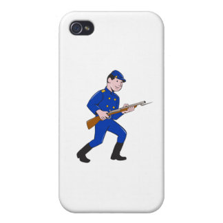 Union Army Soldier Bayonet Rifle Cartoon iPhone 4/4S Case
