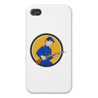 Union Army Soldier Bayonet Rifle Circle Cartoon Cases For iPhone 4