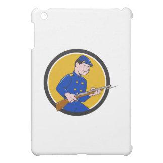 Union Army Soldier Bayonet Rifle Circle Cartoon iPad Mini Case