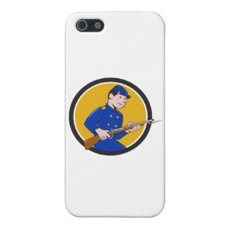 Union Army Soldier Bayonet Rifle Circle Cartoon iPhone SE/5/5s Case