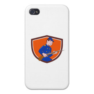 Union Army Soldier Bayonet Rifle Crest Cartoon iPhone 4 Covers