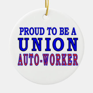 UNION AUTO- WORKER Double-Sided CERAMIC ROUND CHRISTMAS ORNAMENT
