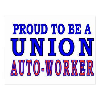 UNION AUTO- WORKER POSTCARD