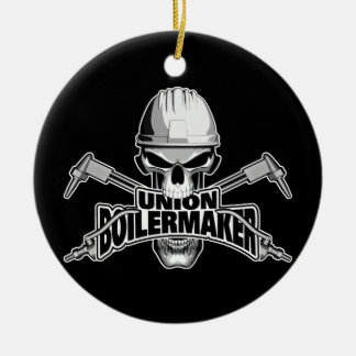 Union Boilermaker: Welding Skull Ceramic Ornament