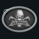 "Union Boilermaker: Welding Skull Oval Belt Buckle<br><div class=""desc"">Skull with white hardhat displaying ""union Boilermaker"" decal style logo in its mouth. Crossed cutting torches in back.</div>"