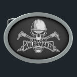 """Union Boilermaker: Welding Skull Oval Belt Buckle<br><div class=""""desc"""">Skull with white hardhat displaying """"union Boilermaker"""" decal style logo in its mouth. Crossed cutting torches in back.</div>"""