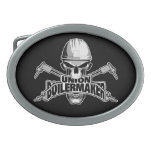 """Union Boilermaker: Welding Skull Oval Belt Buckle<br><div class='desc'>Skull with white hardhat displaying """"union Boilermaker"""" decal style logo in its mouth. Crossed cutting torches in back.</div>"""