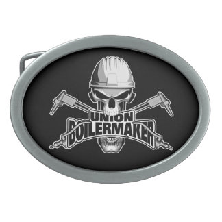 Union Boilermaker: Welding Skull Oval Belt Buckle