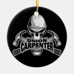 Union Carpenter: Skull and Hammers Double-Sided Ceramic Round Christmas Ornament