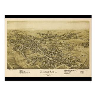 Union City Erie County Pennsylvania Map (1895) Postcard