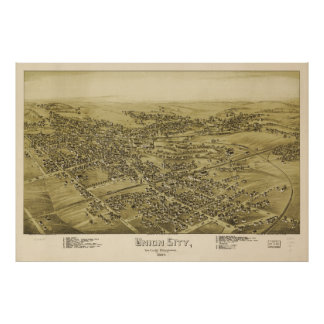 Union City Erie County Pennsylvania Map (1895) Poster