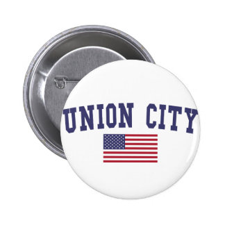 Union City NJ US Flag Pinback Button