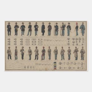 Unión de la guerra civil y uniformes de los pegatina rectangular