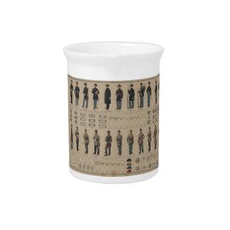 Unión de la guerra civil y uniformes de los soldad jarras para bebida